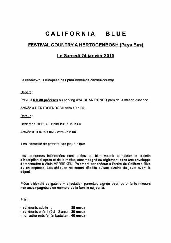 Bulletin de réservation du Festival country aux Pays Bas