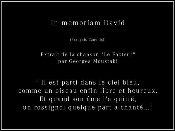 Mon Fils, David, est parti....