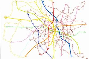 Rail and bus lines in imaginary city's in the world