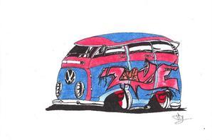 Légende Allemands: Combi Split et Cox (après la 2cv place à la marque VW)
