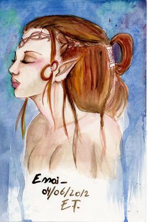 Femme guerrière, elfe, travail pour des cartes (abandonné)