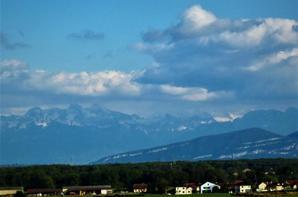 Couché du Soleil sur le Jura et la vue sur les Alpes...