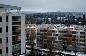 Oyonnax......la vue sur les toits enneigés.....