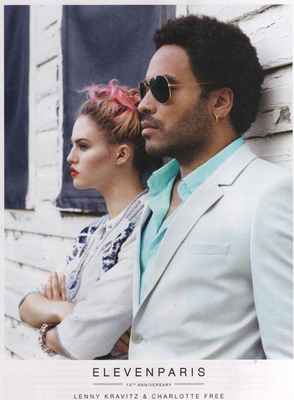 Charlotte Free et Lenny Kravitz pour la nouvelle campagne de Eleven Paris