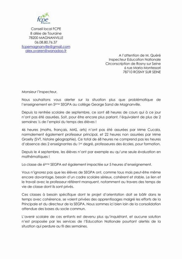 Courrier envoyé le 14/01/2018 suite aux absences répétées des 2 profs en SEGPA