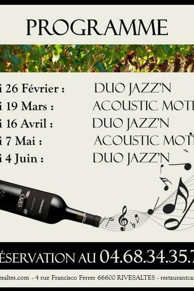 Prochains RDV à La Table d'Aimé.... Bon Jazz !