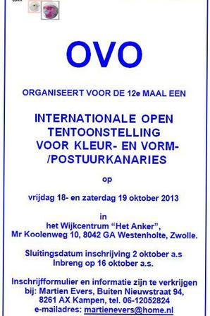 Internationale Open Tentoonstelling O.V.O. vrijdag 18 en zaterdag 19 oktober