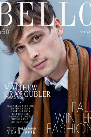 Shooting de Matthew Gray Gubler pour le magazine Bello