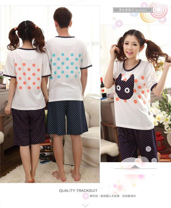 Cat and fish short sleeves couple pajamas