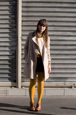 Parlons chiffons : le♔ Must have ♔Osez les collants jaunes moutarde #mode #tendance