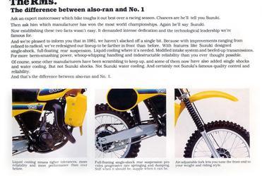 Quelques spécificités 125 RM-X 1981