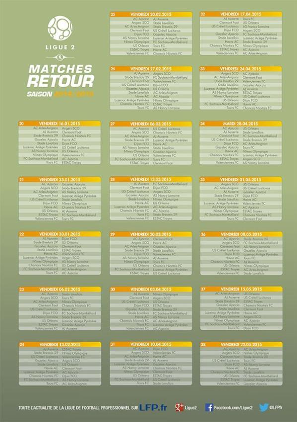 Calendrier Ligue 2 2014-2015 Match Aller-Match Retour