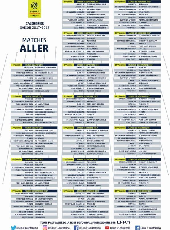 Calendrier Conforama Ligue 1 Pour La Saison 2017-2018