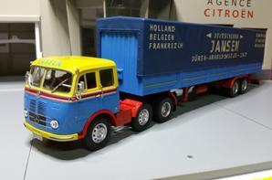 tracteur mercedes-benz lps 333 de 200ch (1958-1961) avec semi-remorque des tp jansen de chez ixo au 1/43.(édition altaya numéro 23 semi-remorque d'exception).