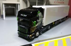 tracteur scania streamline topline r730 v8 king of the road avec semi-remorque de chez eligor au 1/43.