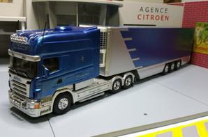 Le king of the road tracteur scania longline v8 avec semi-remorque thermo king frigo transfo eligor au 1/43.