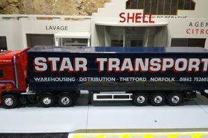 tracteur daf xf 105 410ch 6x2 avec semi-remorque tautliner des tp star transport de chez eligor au 1/43.