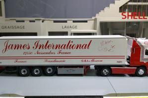 daf xf 105 avec semi-remorque chereau frigo des trs james international modèle eligor au 1/43.