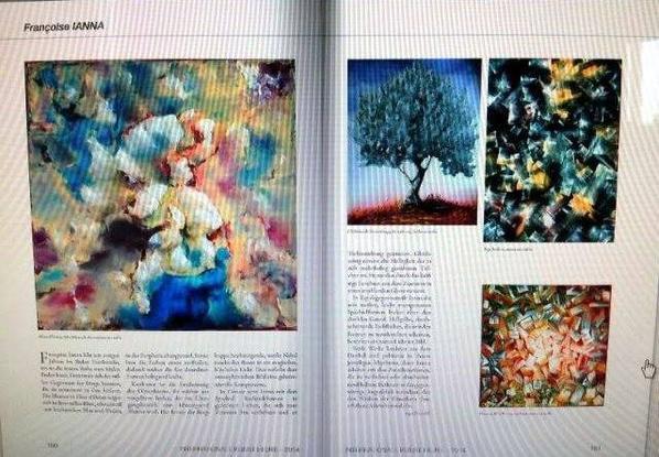 TRADUCTION...Francoise Ianna vit depuis plusieurs années dans le sud de la France où elle a pu trouver la paix intérieure pour peindre. Là, elle est consciente de la présence silencieuse des choses qu'elle représentent dans sa peinture. Les fleurs représentées dans le tableau FLEUR DE L'OCEAN apparaissent dans des couleurs, sanguinolentes, Blanc neige, d' un bleu et violet lumineux, irisées dans la périphérie. Ianna laisse un peu les couleurs s'écouler et par conséquent, cela conduit à une forme presque abstraite, aérée et lumineuse. L'Olivier qui apparait concrètement, se développe à partir du sol rouge- jaune, dans la zone de transition, à l'arrière-plan, la montagne derrière le dôme se levant d'un bain de brouillard, baigne l'arbre dans une lumière bleutée magique ce qui donne à l'image une composante atmosphérique mystérieuse Dans des couleurs douces qui se condensent vers le centre et gagnent en profondeur en même temps, la luminosité des particules plus riches en couleurs, est causée par la forte lumière du centre due à une brillance radieuse rajoutée. Dans le haut au contraire Ianna utilise un blanc pur en forme de mastic légèrement transparent, lâché sur le fond sombre: Des taches translucides de couleur d'un jaune lumineux semblent fusionner avec les formes et provoquent une douce lumière dans la composition. Ces deux travaux sur la lumière éclairent l'obscurité et palpitent dans leur rythme, car Ianna fonctionne avec les espaces qu'elle compresse ou laisse translucide et ancrés entre eux jusqu'au moment ou l'oeuvre de l'artiste prête sa beauté sublime.!!!!