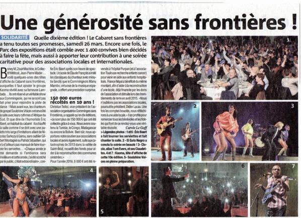 Cabaret sans frontières le 27/03/2016 à St Gaudens