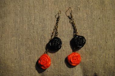 Boucles d'oreilles roses ✿