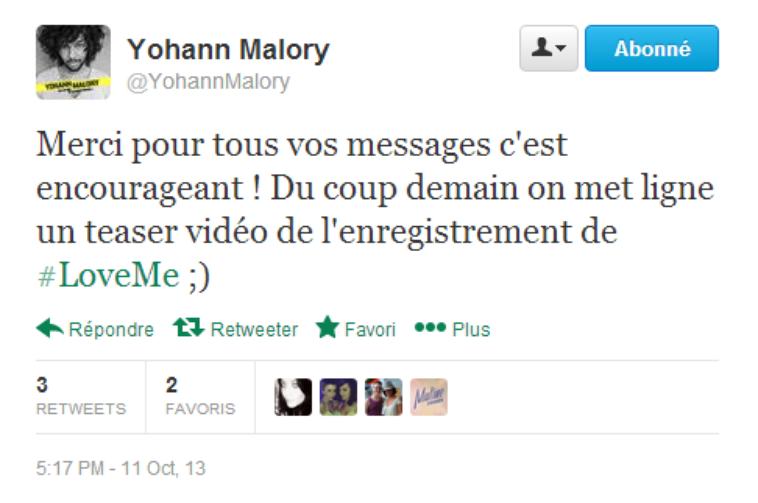 Jenifer » Actualité » Duo Yohann Malory - Love Me