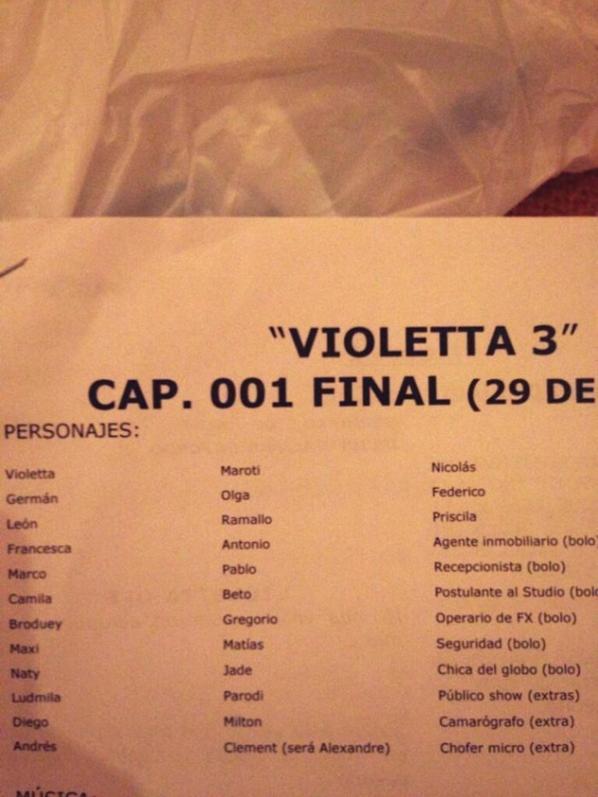 Le première épisode de Violetta3 a été tournée !