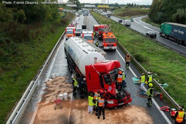 Le Pin L'A 104 coupée pendant plus de deux heures après un accident de poids lourd !!