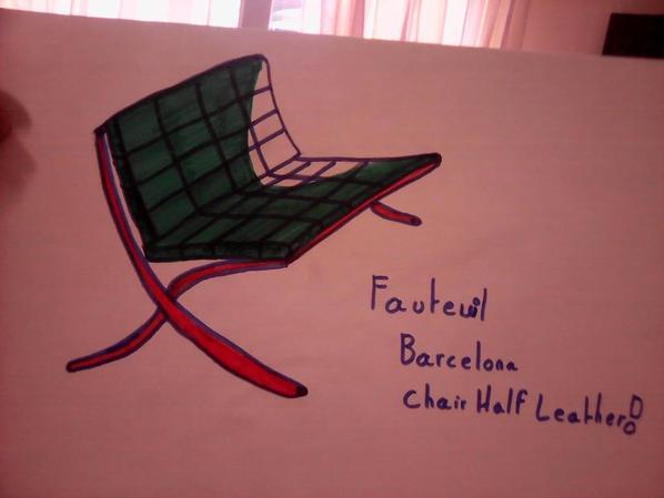 Ébauche d'un fauteuil cuir vert et de la planète dans les mains