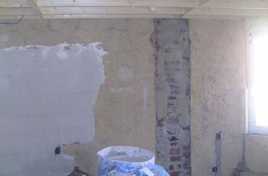 plafonnages sur vieux mur