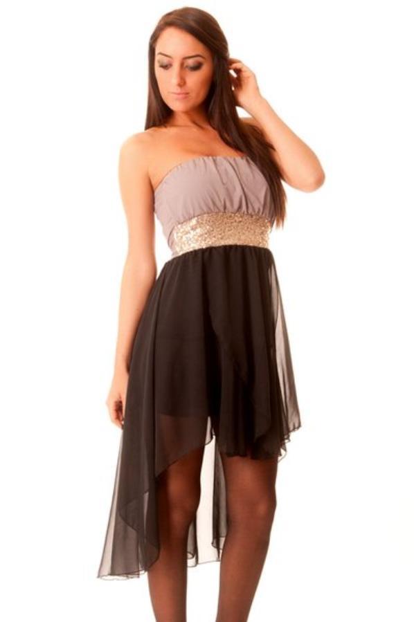 robe en voile noir et ceinture en strass. 2646 et Robe bustier avec strass. 8207