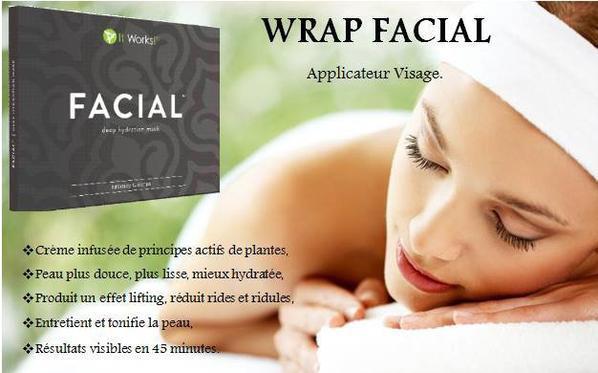 Qu'est ce que le wrap facial ?  - Affine, tonifie et raffermit la peau pour donner à votre visage une apparence liftée  - Atténue l'apparence des ridules et des rides  - Laisse une sensation de douceur et d'apaisement sur la peau grâce à une hydratation continue  - Réveille les peaux fatiguées grâce à l'action revigorante d'extraits de plante