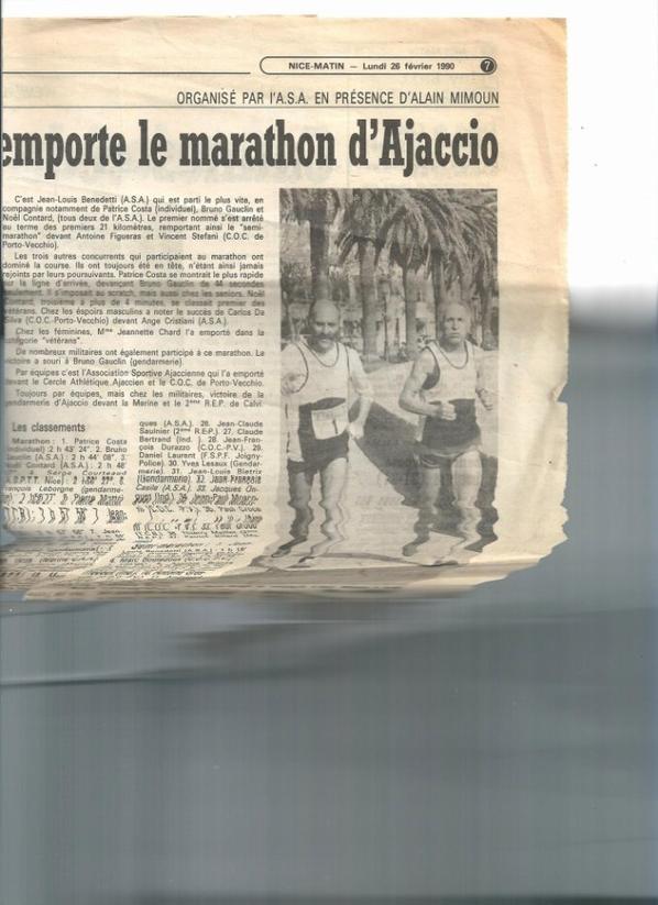 Patrice COSTA vainqueur du marathon d'Ajaccio