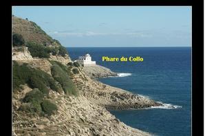 Phare du Collo à la pointe du presqu'île et la souvenir de Emile Gury  administrateur adjoint de la commune de Collo emporté par la mer au phare  à l'âge de 30 ans lors de la tempête du 05 décembre 1897