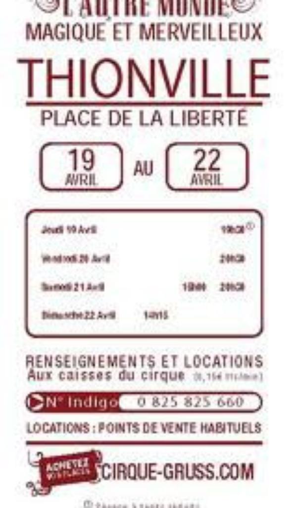 CIRQUE ARLETTE GRUSS A THIONVILLE DU 19 AVRIL AU 22 AVRIL 2012