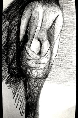 Un des mes dessins : L'hombre se melange au pleur