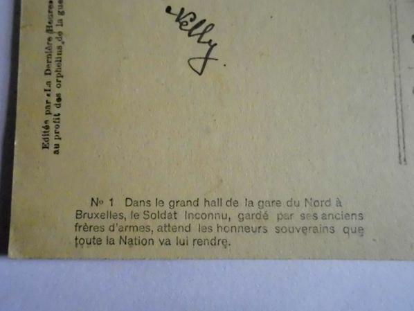 Carte postale du soldat inconnu Belge