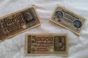 piece de  monnaie et  billet allemand  de  ww2