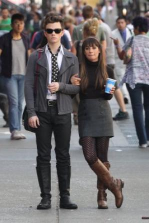 Lea Michele & Chris Colfer Tournage de Glee