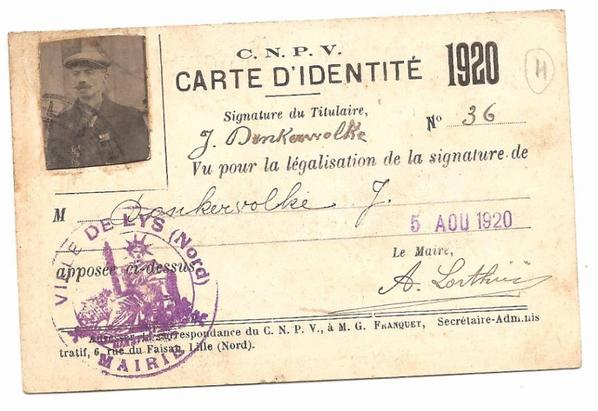 carte identité colombophile J. DONKERWOLKE à LYS (59) de 1920
