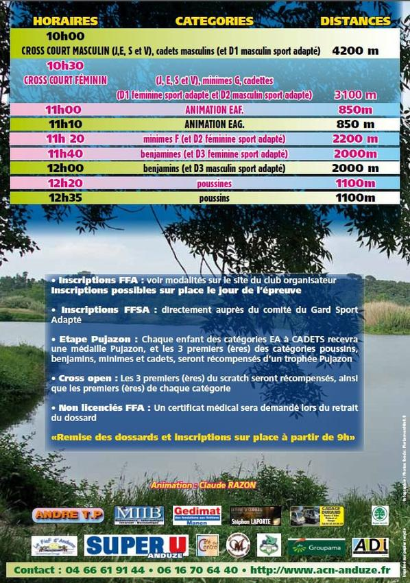 Flyer Cross Country Anduze 2015 (Cross open du lac d'Atuech)