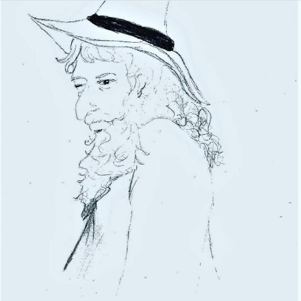 Mon dessin de ce sorcier  qui j'ai mis en couleur!