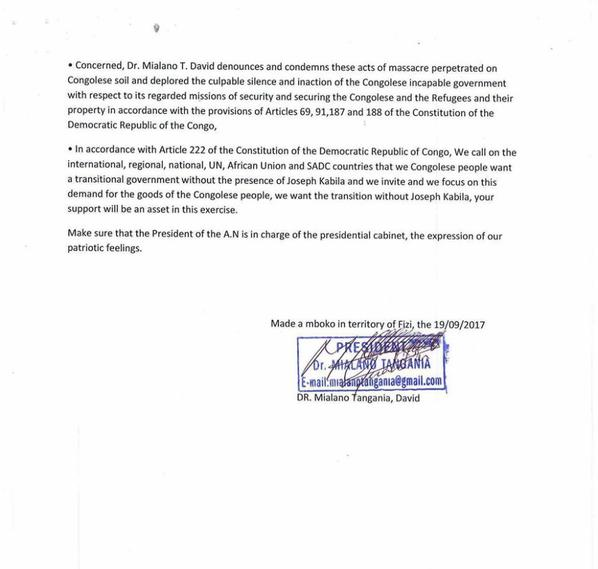une lettre chez le president de l'assemblee natinal