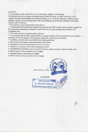 une lettre a l'ambassadrice de USA a l'ONU