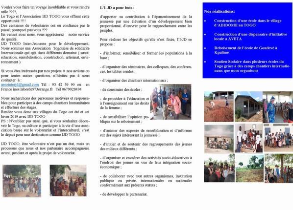 Recherche des volontaires pour camp chantiers été 2019 au Togo