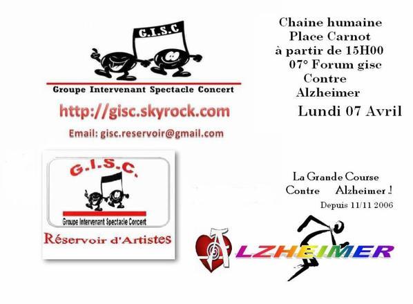 7° Forum Contre Alzheimer  Lundi 07 Avril 2014  gisc reservoir d'artistes:lundi 07 Avril à partir de 15H00  place Carnot