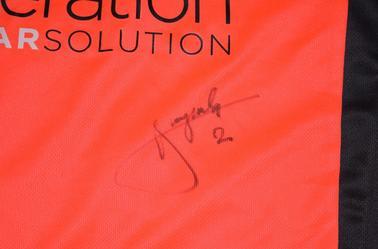 Maillot Gardien orange 2010-2011 Porté par Grégory Malicki et Dédicacé