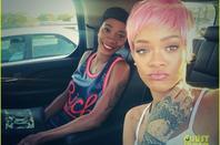 Rihanna Rocks Short Pink Wig She Took from Nicki Minaj!