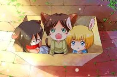 Levi, Isabel et Farlan = Mikasa, Eren et Armin