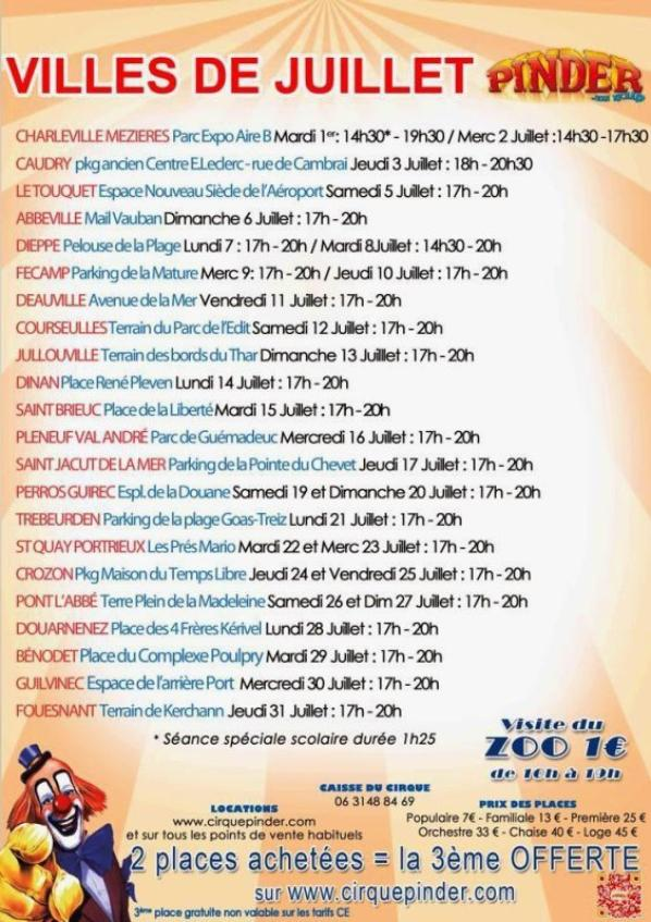 ville de juillet et d'août du cirque pinder 2014!